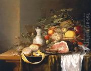 Still life with a basket of fruit and a ham  by Laurens Craen