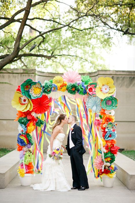 Colourful crazy paper flowER ARCH I WANT TO GET MARRIED UNDER THAT                                                                                                                                                                                 Plus