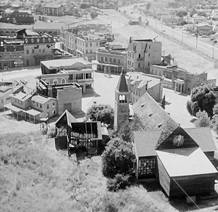 A 1958 view of the Culver City backlot known by its miscalculated name: '40 Acres'. It's proud ownership is thus:1926-DeMille Studios/RKO/Selznick/RKO/Desilu/ Paramount.   The 29 acres of film history were sold off in 1968 and bulldozed in 1976