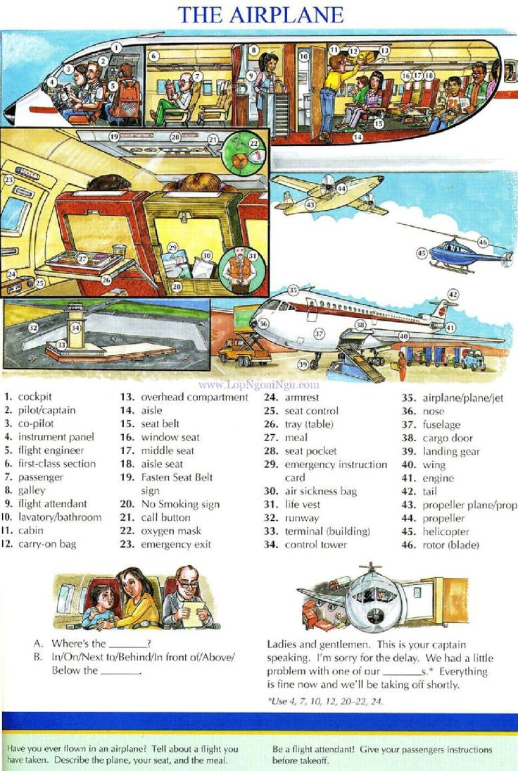 93 - THE AIRPLANE - Pictures dictionary - English Study, explanations, free exercises, speaking, listening, grammar lessons, reading, writing, vocabulary, dictionary and teaching materials
