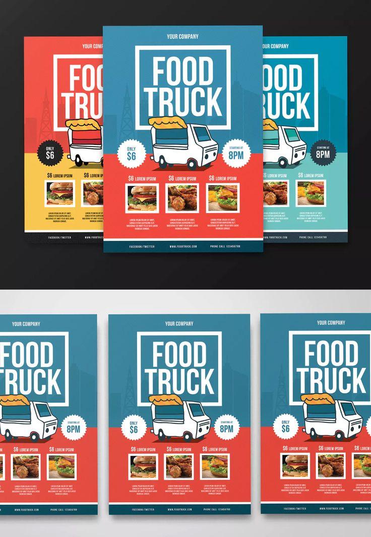 Food Truck Flyer Template AI, PSD