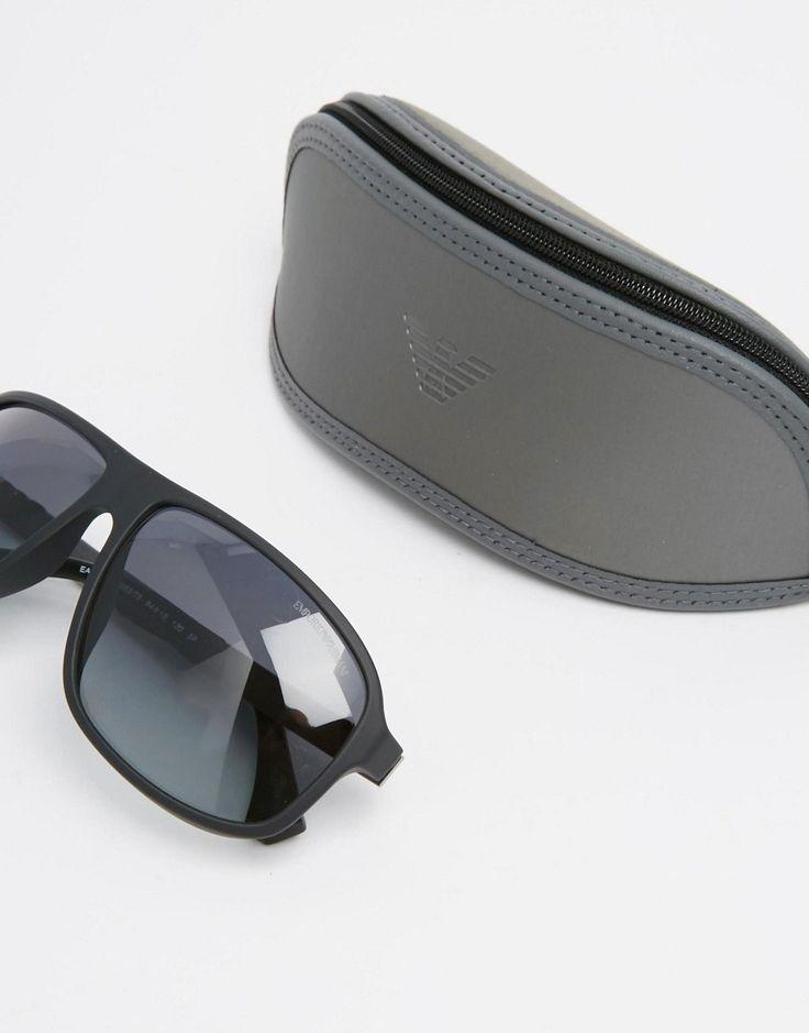 Emporio Armani Aviator Polarised Sunglasses - Black