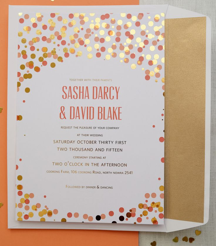 Confetti wedding invitation Also available in other colours