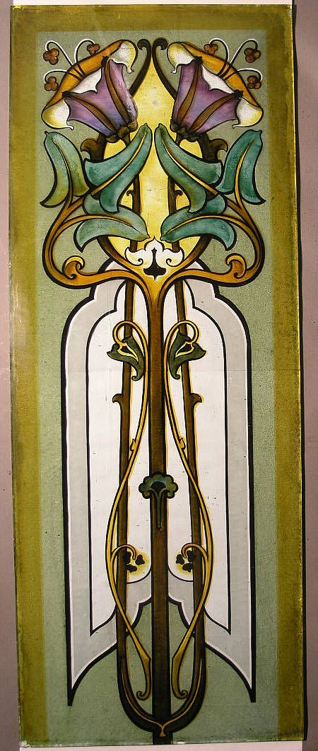 Magnificent Art Nouveau glass panel screen consisting of fifteen panels which were removed from a period house in Edinburgh. The colours are fired on to thick 8 mm glass and are therefore impervious to ultra violet light and water. They date from the 1890s and were probably of Viennese manufacture.