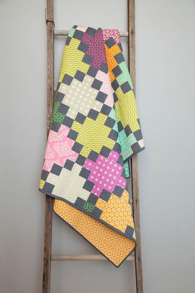 Irish Chain Quilt by Amy Gibson—using Heather Bailey's True Colors fabric collection. www.StitcheryDickoryDock.com www.HeatherBaileyStore.com