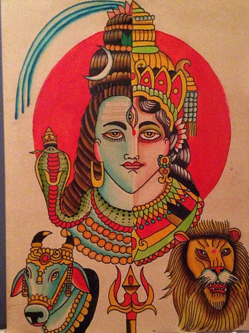 Ardhanarishvara the inseparable form of Shiva and Parvati . Painted by Robert Ryan