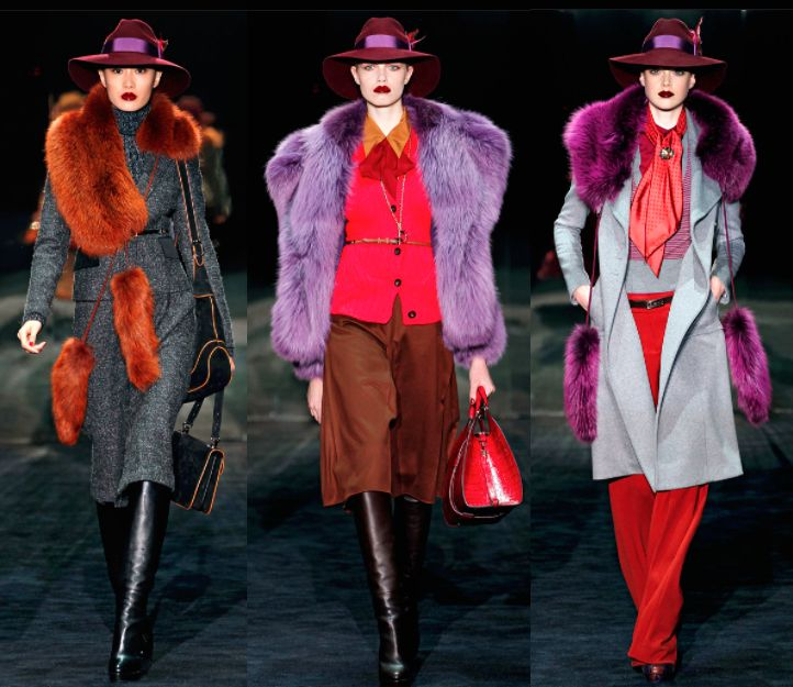 Gucci Autumn Winter 2011 – It's still color block, but in winter version thanks to the strong contrast of complementary colors of accessories such as wide-brimmed fedora hats, fox stoles and python bags, matching with layers of fur coats, jackets, blouses and male baggy pants in full 70s mood.