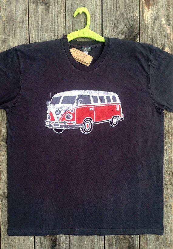 VW bus camper batik bio organic t shirt hand made hand by BAGANUS