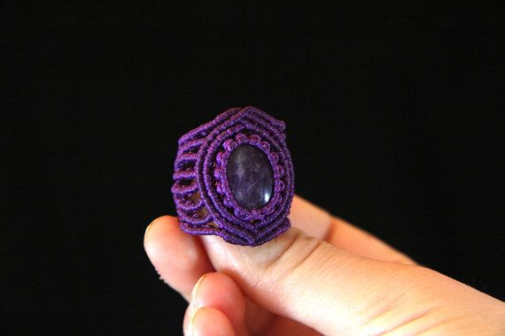 Macrame Amethyst Ring Geometry macrame ring by KaramelMacrame