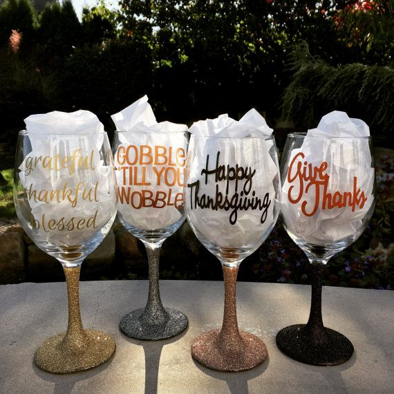 Thanksgiving wine glass set by BERKSWINEDESIGN on Etsy