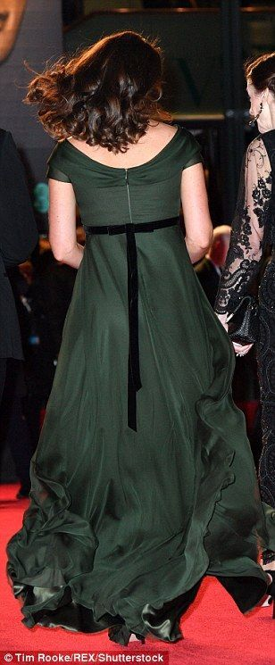 What Kate is wearing today. Third pregnancy, dark green maternity dress. rear back view, bouncy hair, Feb 18 2018