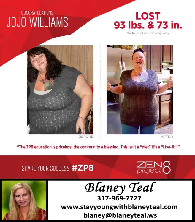 Weight Loss Success Stories JoJo is down 93 lbs after 5 months on ZEN Project 8 - WOW http://bit.ly/1RXR9LK for more info!