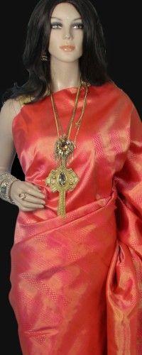 Peach Pink Tissue Gold Kanjeevaram Bridal Saree