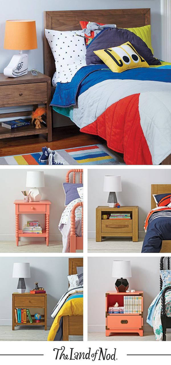 A kids nightstand is the must-have sidekick for your little one's bedroom. The Land of Nod's collection of exclusive bedside tables includes designs to complement any bedroom furniture. Plus, add a nightlight or table lamp to make it extra cozy.