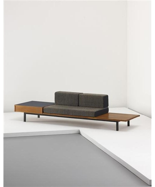 Charlotte Perriand, Oak Bench with Drawer and Side Table from Cité Cansado, 1958.