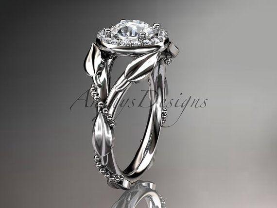 14kt anillo oro blanco diamante hoja y vid boda, anillo de compromiso ADLR328