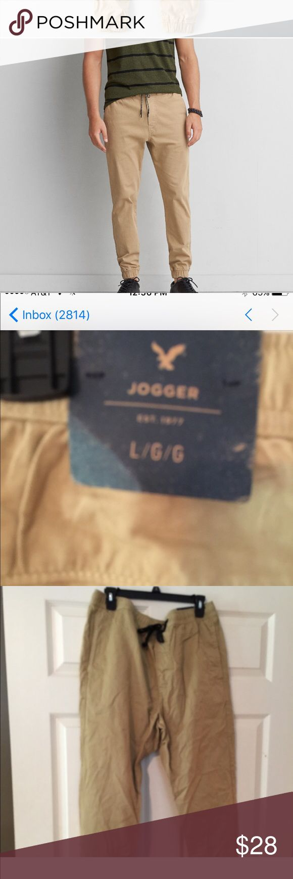 American Eagle Men's Joggers Size Men's Large.  Heavy Khaki. Brand New with all tags still attached. On sale currently on AE Website for $37.00 American Eagle Outfitters Pants Sweatpants & Joggers