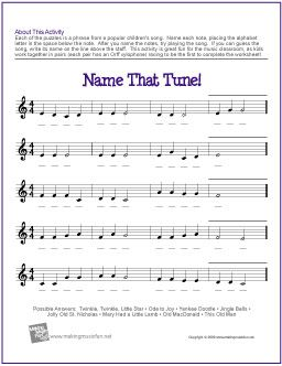 Name That Tune! | Treble Clef Note Name Worksheet - http://makingmusicfun.net/htm/f_printit_free_printable_worksheets/name_that_tune_worksheet.htm