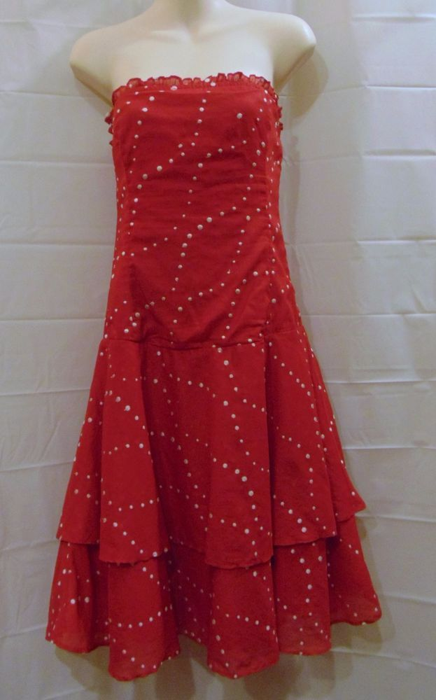 Odille Anthropologie Pacific Coast dress red white polka dot drop waist  Sz 2 #Odille #TeaDress #versatile