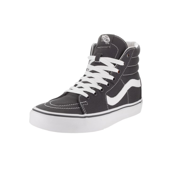 Embrace the retro vibe of these asphalt, Vans Sk8 shoes as your go-to streetwear pair. Made from breathable canvas and thick rubber soles that last, these lace-up high tops give you all the support an