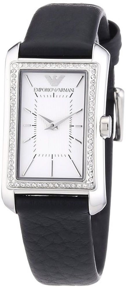New Emporio Armani Watch Black Leather Glitz Rectangular Case 30x22mm AR7332 #EmporioArmani #Dress