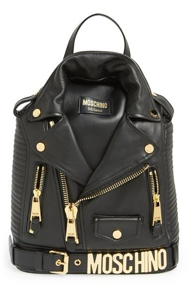 Moschino 'Biker Jacket' Leather Backpack   Nordstrom