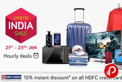 Snapdeal #UnboxIndiaSale brings Hourly Deals and offering discounts on all categories products. Additional 15% instant discount on all HDFC credit cards.   http://www.paisebachaoindia.com/unbox-india-sale-hourly-deals-15-instant-discount-on-hdfc-card-snapdeal/