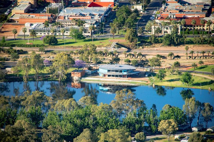 KEW Images Photography took to the skies to get this great shot of #Mildura, the Murray River and the new building works at the Rowing Club