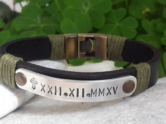 EXPRESS SHIPPING Cross Engraved Personalized Men Bracelet