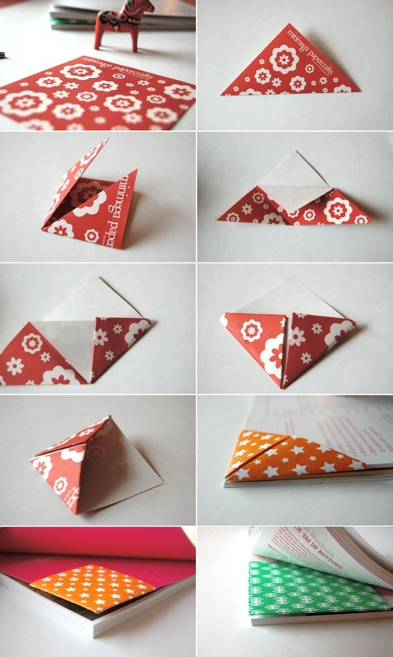 Origami Triangle Bookmark Folding Instructions | DIY | For Book | Marcador de Página