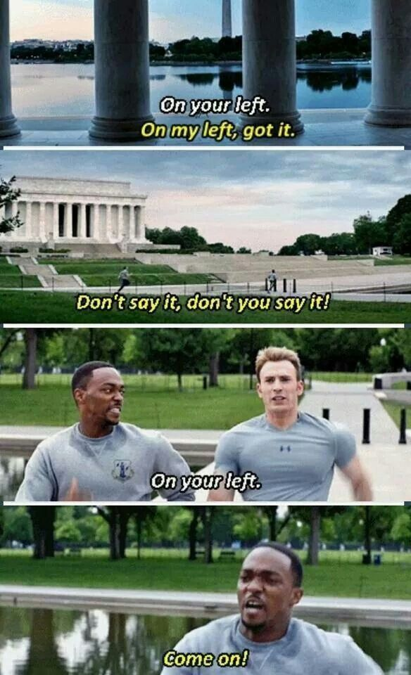 Captain America: The Winter Soldier aka the beginning of the Cap and Falcon bromance... #bros