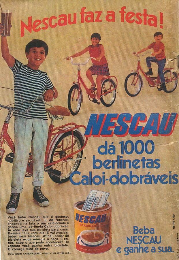 Propaganda do Nescau com promoção de sorteio de Berlineta (bicicleta) em 1969.