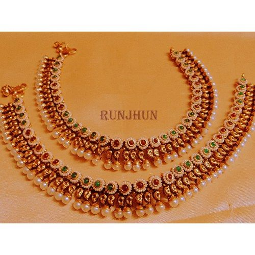 designer wedding  pearl and stone payal - Online Shopping for Anklets by Runjhun Designer Jewellery
