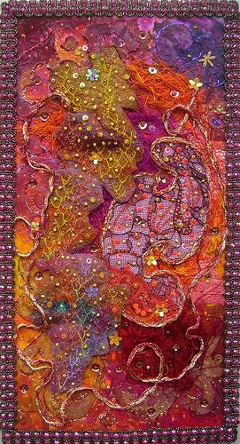 Terre de Feu by Karen Cattoire, via Flickr. This woman's fiber art is incredible! - It is indeed, great!