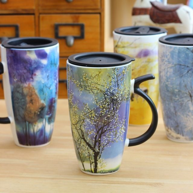 Creative Painting Ceramic Insulated Mug Large Capacity Coffee Milk Cup Bone China Espresso Tea Cups and Porcelain Mugs Gift