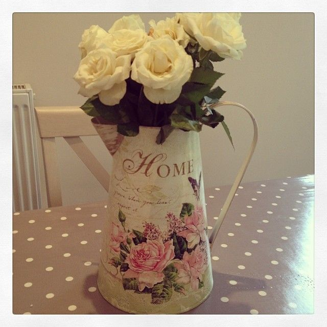 Stunning large shabby chic metal vintage rose jug or vase Beautiful vintage rose print along with some script and Home Tall - approx 25cm