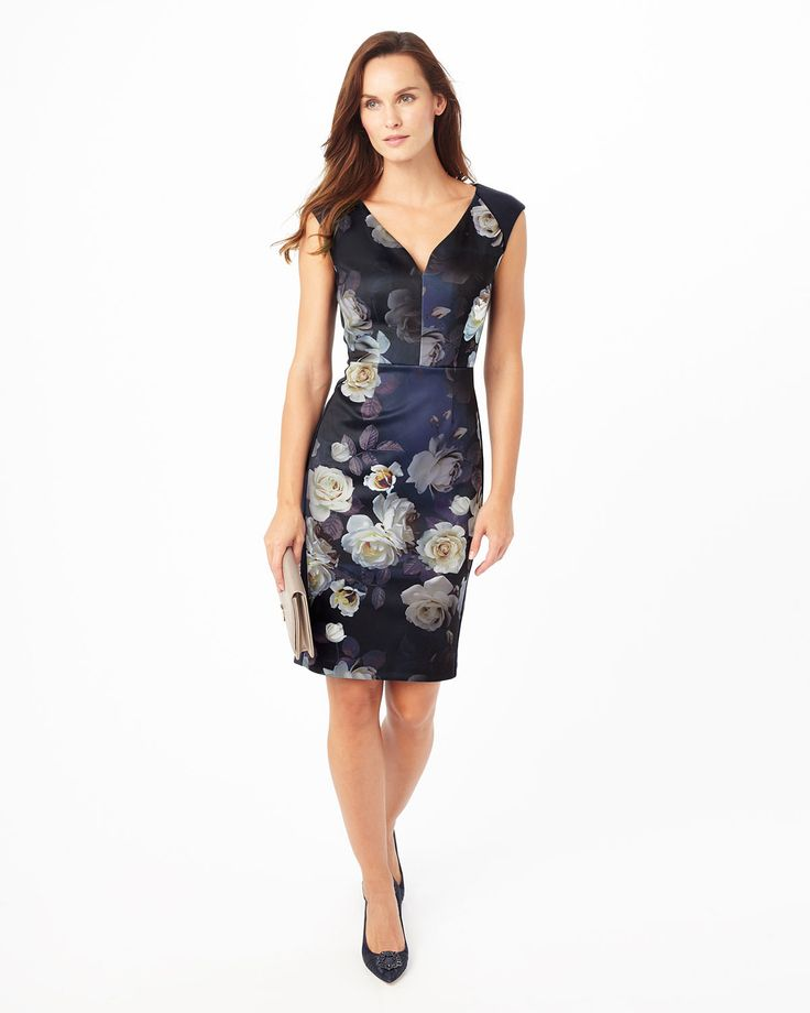 Phase Eight Camilla Rose Floral Dress Blue Wedding Guest