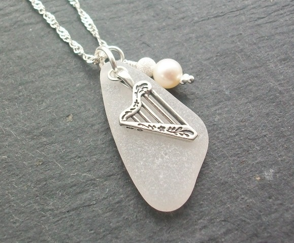 Scottish Sea Glass and Silver Celtic Harp Necklace - OCEAN MUSIC £23.00