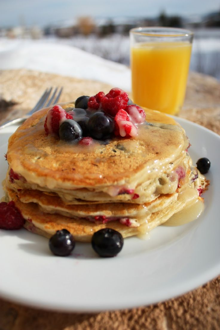 Cooking Classy: Blueberry Raspberry Buttermilk Pancakes and Vanilla Cream Syrup
