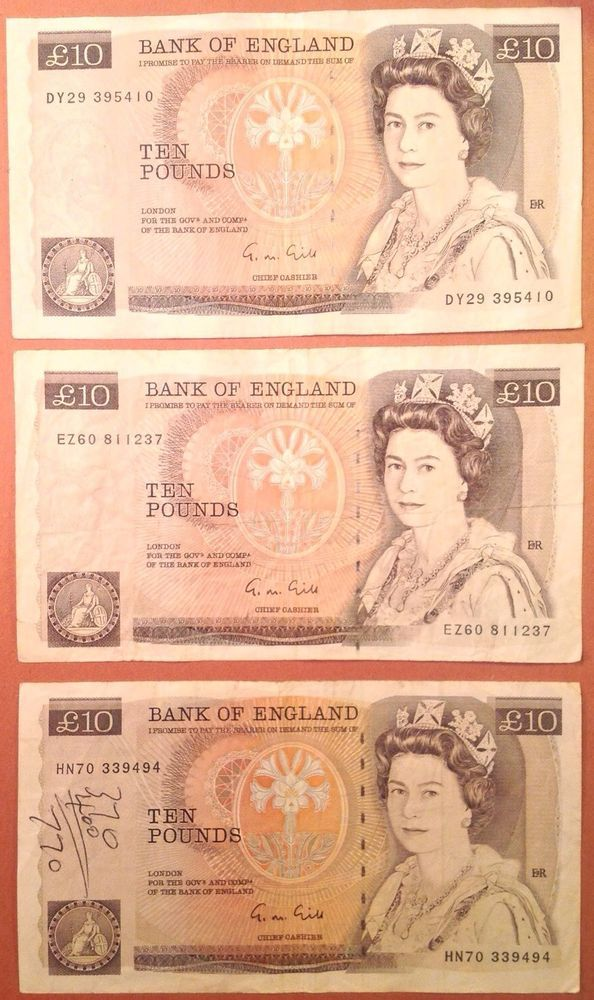 Bank Of England 10 Pounds Banknotes 3 Circulated UK (Great Britain) Currency
