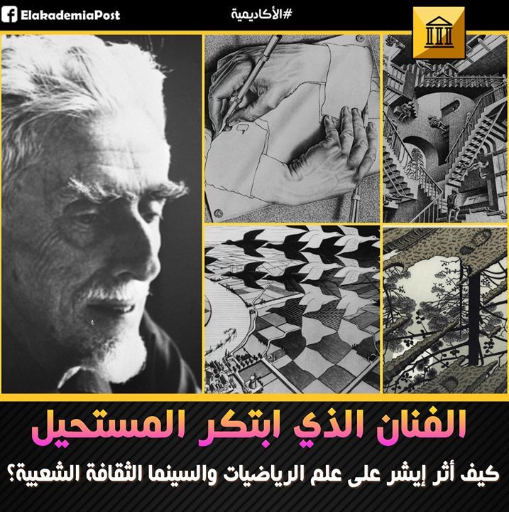 اليوم نحتفل بذكرى ميلاد الفنان الهولندي الاسطوري موريتس كورنيليس إيشر Maurits Cornelis Escher أشهر وأفضل مصمم جرافيك في التاريخ و Art Historical Figures Poster
