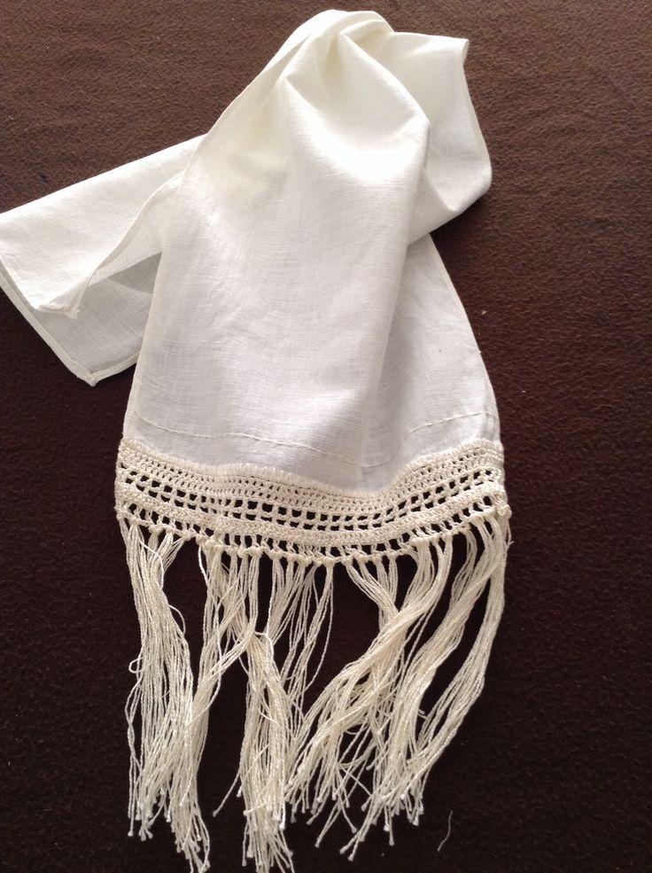 Toalla de lino y macramé sayunabyconsu.blogspot.com.es