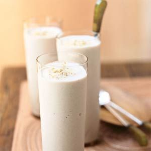Frozen bananas, graham cracker crumbs, and vanilla extract are a few of the ingredients that make this smoothie a rich dessert in a glass. Because it calls for low-fat yogurt and fat-free milk, one serving of this drink gives you about the same amount of calcium as a glass of milk.