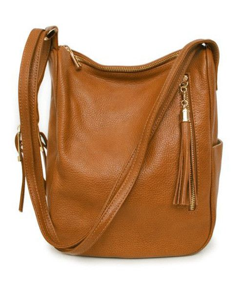 Brown Leather convertible shoulder bags for womens