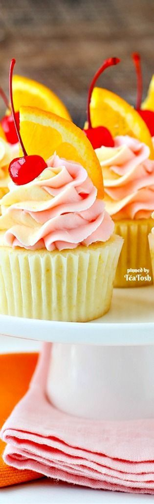 ❇Téa Tosh❇ Tequila Sunrise Cupcake Recipe | by Lindsay Conchar Link: http://thecakeblog.com/summer-gallery
