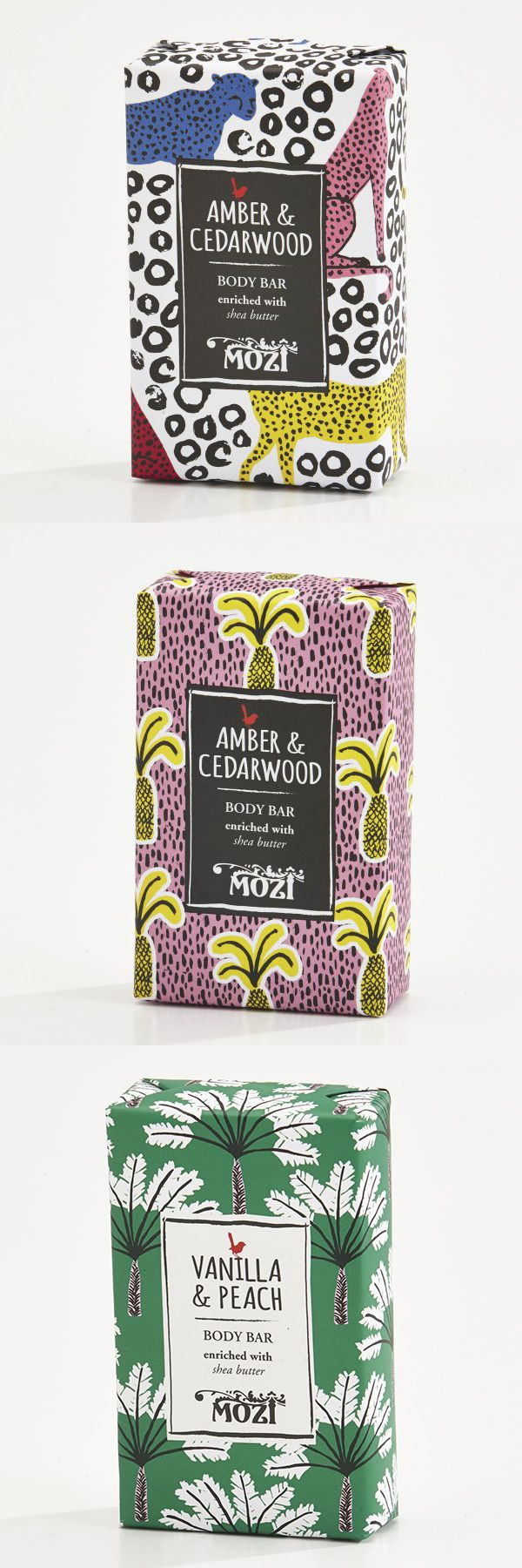 Inspired by … Out of Africa collection from Australian Lifestyle brand Mozi. Branding Packaging – the looseness and energy these patterns bring to the brand. Cheetahs, Palm Trees, and Pineapple drawings give this sense of ease and relaxation that the brand once to convey. A small detail to appreciate is also the use of this serif typeface to contrast the looseness of the patterns.