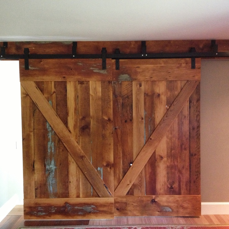 Reclaimed Wood Sliding Bypass Doors Closet Door Ideas Pinterest