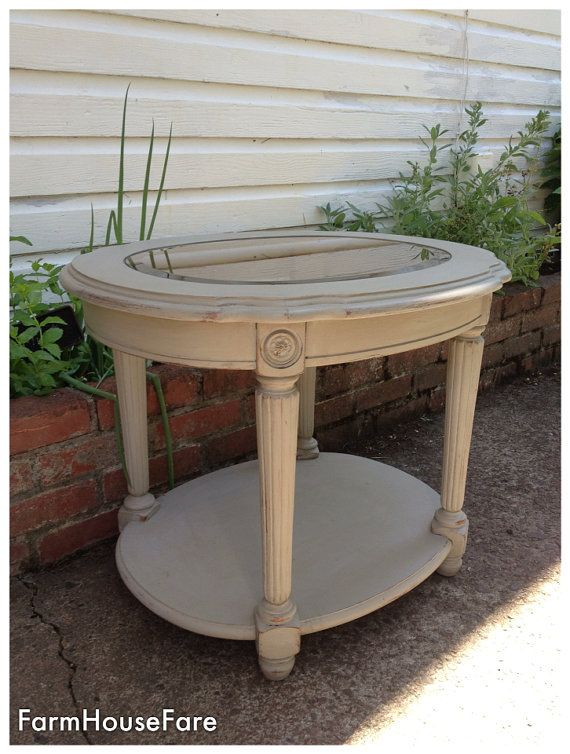 French Linen Chalk Paint End Table, Round Wood Painted Side Table, Rustic  Traditional Living Room Table, Farm House Fare