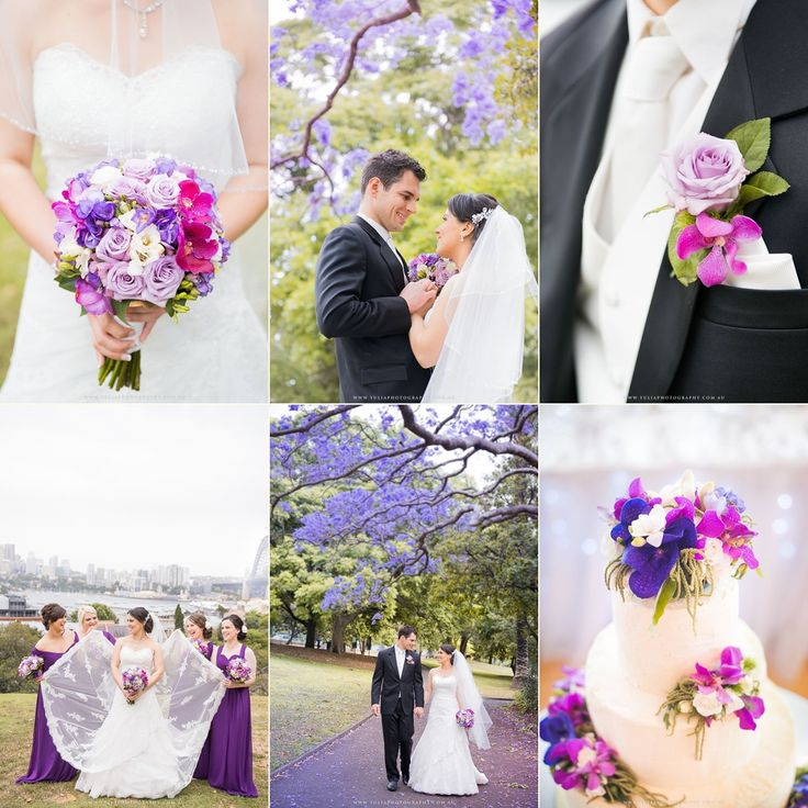 Purple bridesmaids outfits. Best ideas for spring weddings, jacaranda blooming season.  ~Sydney wedding photography by Yulia Photography~ www.yuliaphotography.com.au