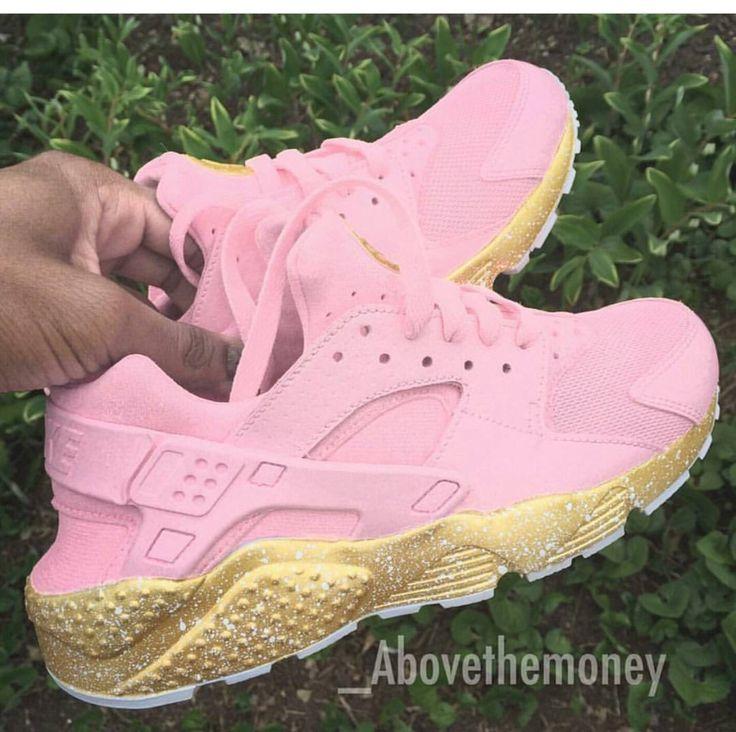 Nike custom pink/gold huaraches